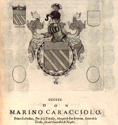 Blasón de Marino II Caracciolo, príncipe di Avellino, Gran Maestre fugaz de la Orden Constantininana-ARMORIAL DEL TOISÓN DE ORO