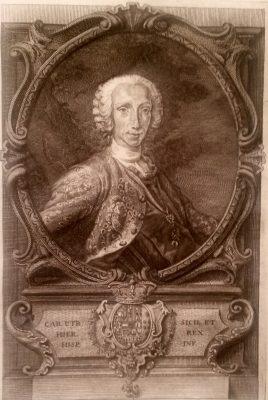El Infante Don Carlos, Rey de las Dos Sicilias, con el collar de Gran Maestre de la Orden Constantiniana acolado a sus armas