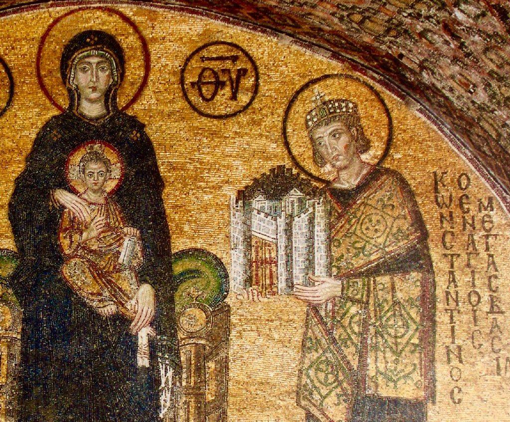 [Constantino el Grande ofreciendo a la Virgen la ciudad de Constantinopla. Mosaico de la Basílica de Santa Sofía, Estambul]