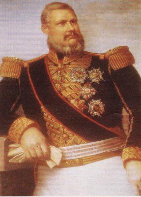 Fernando II del (Reino unido) de las Dos Sicilias, Gran Maestre, luciendo la placa de la Orden