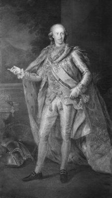 Fernando IV de las Dos Sicilias, Gran Maestre, por G. Bonito. Bajo la corona de las Dos Sicilias se puede ver pendiente la venera de la Orden Constantiniana