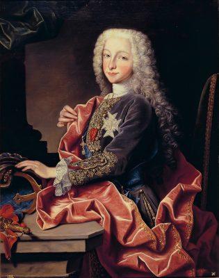 El Infante Don Carlos de Borbón, Duque de Parma, luciendo la venera de Gran Maestre de la Orden Constantiniana, por J. Ranc (1731)