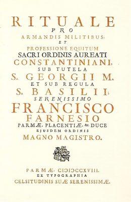 Ritual de Cruzamiento de los Caballeros Constantinianos-PARMA-1718