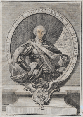 Carlos III de España, Gran Maestre Emérito de la Orden Constantiniana, con el collar de la Orden acolada a sus armas como rey de España (1759)