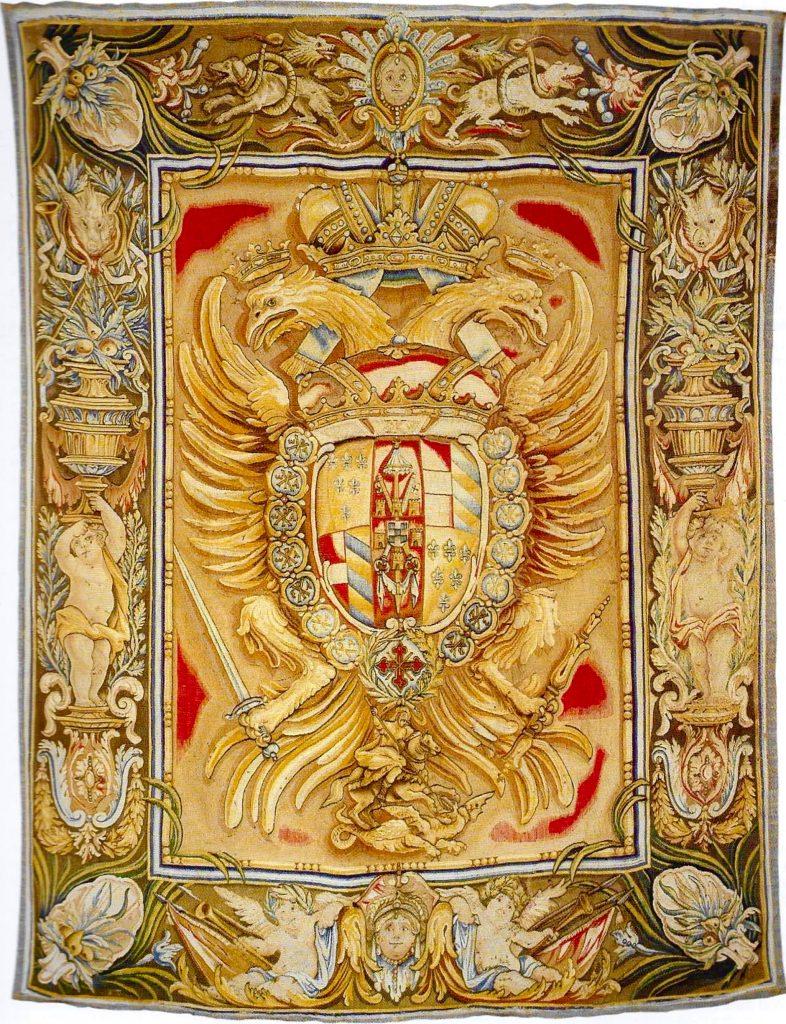 Tapiz heráldico con las armas de los Farnesio como Grandes Maestres de la Orden Constantiniana