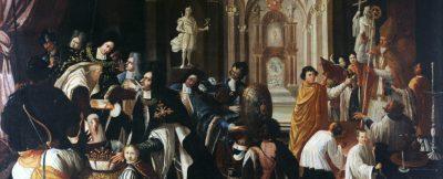 Pintura que representa la transmisión del Gran Magisterio de la Orden porJuan Andrés II Angelo Flavio Comneno a Francisco Farnesio