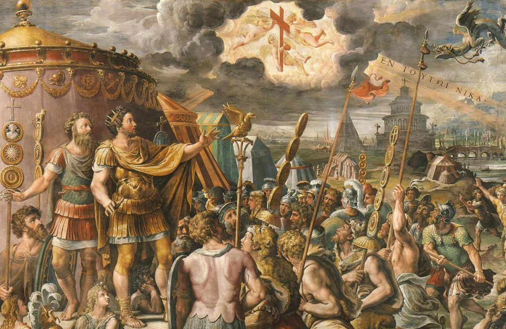 [Aparición de la Cruz a Constantino el Grande antes de la batalla de Ponte Milvio, por G. Romano]